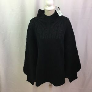 Prologue Mock Balloon Sleeve Cropped Sweater Black